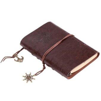 Foxnovo Vintage PU Cover String Key Bound Blank Notebook Notepad Travel Journal Diary Sketchbook (Coffee