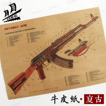 Harga AK47 improved-AKM gun structure map nostalgic retro kraft paperposter dormitory bar coffee Hall sticker