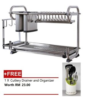 Alpha Living 2 Tier High Quality Stainless Steel Draining Rack, Disk Sink [FREE Cutlery Drainer and Organizer]