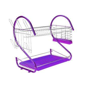 Harga Alpha Living S Shape 2-Layer Dish Drainer Two Tier Kitchen StorageDrying Draining Rack (Purple)
