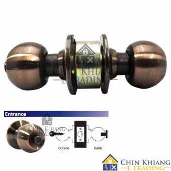 Harga Aman 3871AC Cylindrical Entrance Lock Door Knob Set Antique Copper