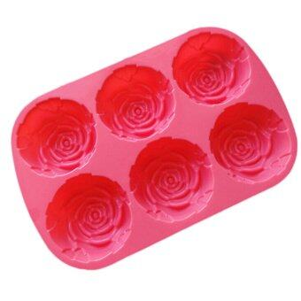 Amango New Silicon Rose Candles Soap Molds Cake Chocolate CandyJelly Mould