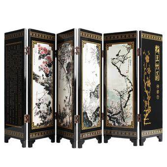 Andux Small Wooden 6-leaf Folding Screens Art Screens FGPF-01(Plant)