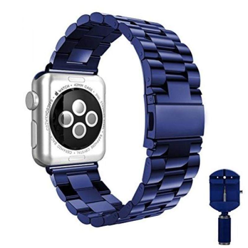 Buy Apple Watch band, VIPPLUS iWatch Band Stripe Stainless Steel Strap Wristband Replacement Bracelet with Durable Folding Metal Clasp for Apple Watch Series 3/2/1 Navy Blue 38mm Malaysia