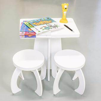 Arche Kids Table and Chairs Study Set White Wood Children's Set with 1 Square Table and 2 Chairs