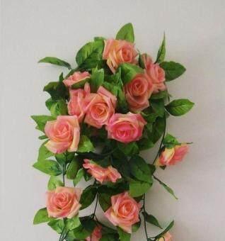 Mawar Palsu Buatan Sutra Daun Hijau Bunga Karangan Bunga Merambat Anggur  Merambat Karangan Bunga Menggantung Dinding ea184546bf