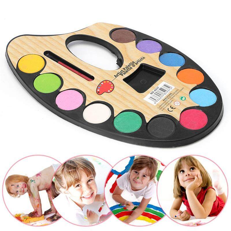 Artist Palette with 12 Assorted Water Colors (1 Brush Provided)- Children