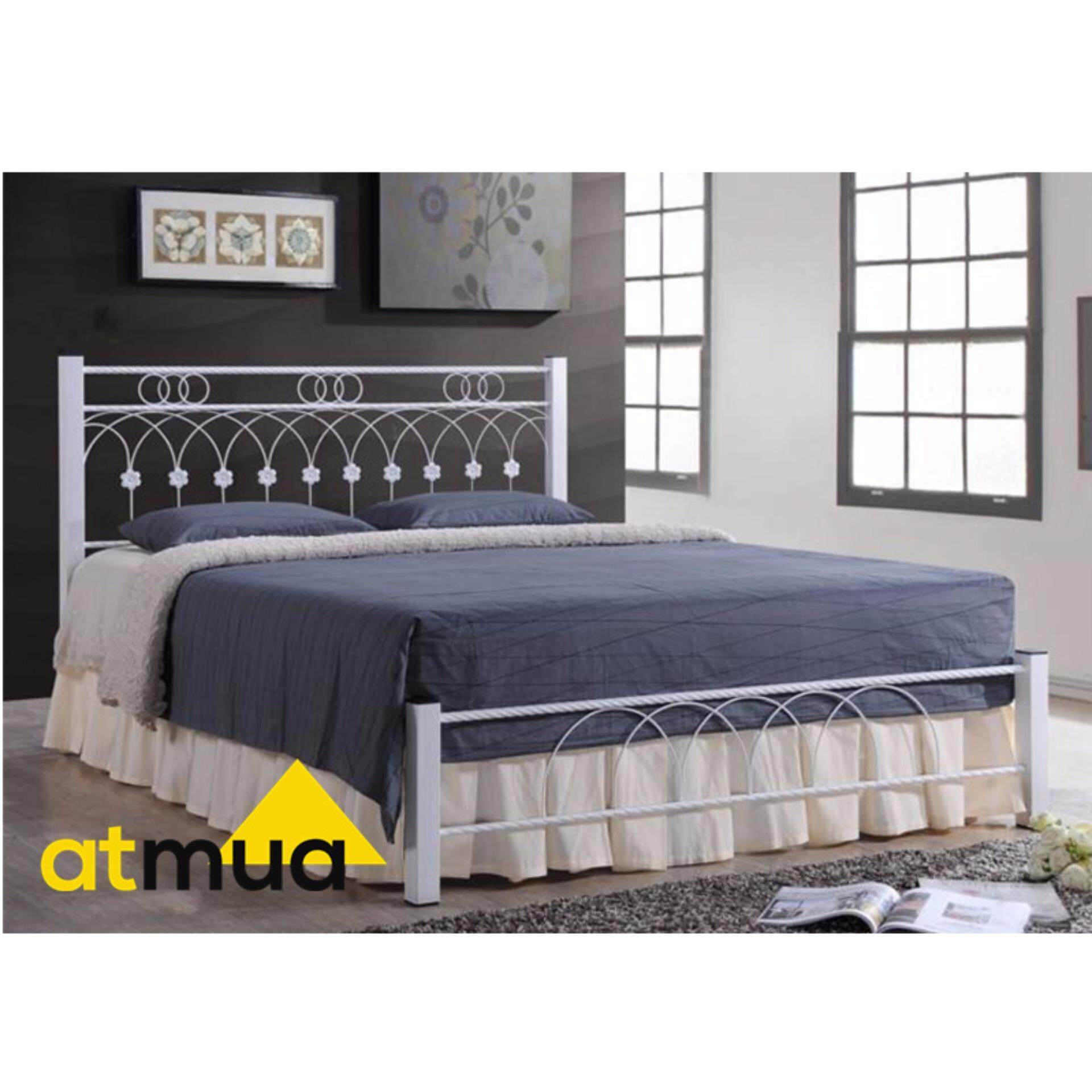 Atmua Sharon Metal Queen Size Bed Frame - Brown
