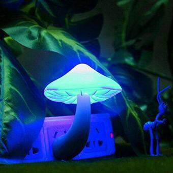 Harga Beauty Night Light Lava Lamps LED Small Portable Mushroom LampBedside Wall Color:Blue
