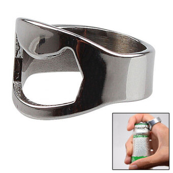 Harga Beer Bottle Opener RING Stainless Steel Metal Finger Thumb keyring