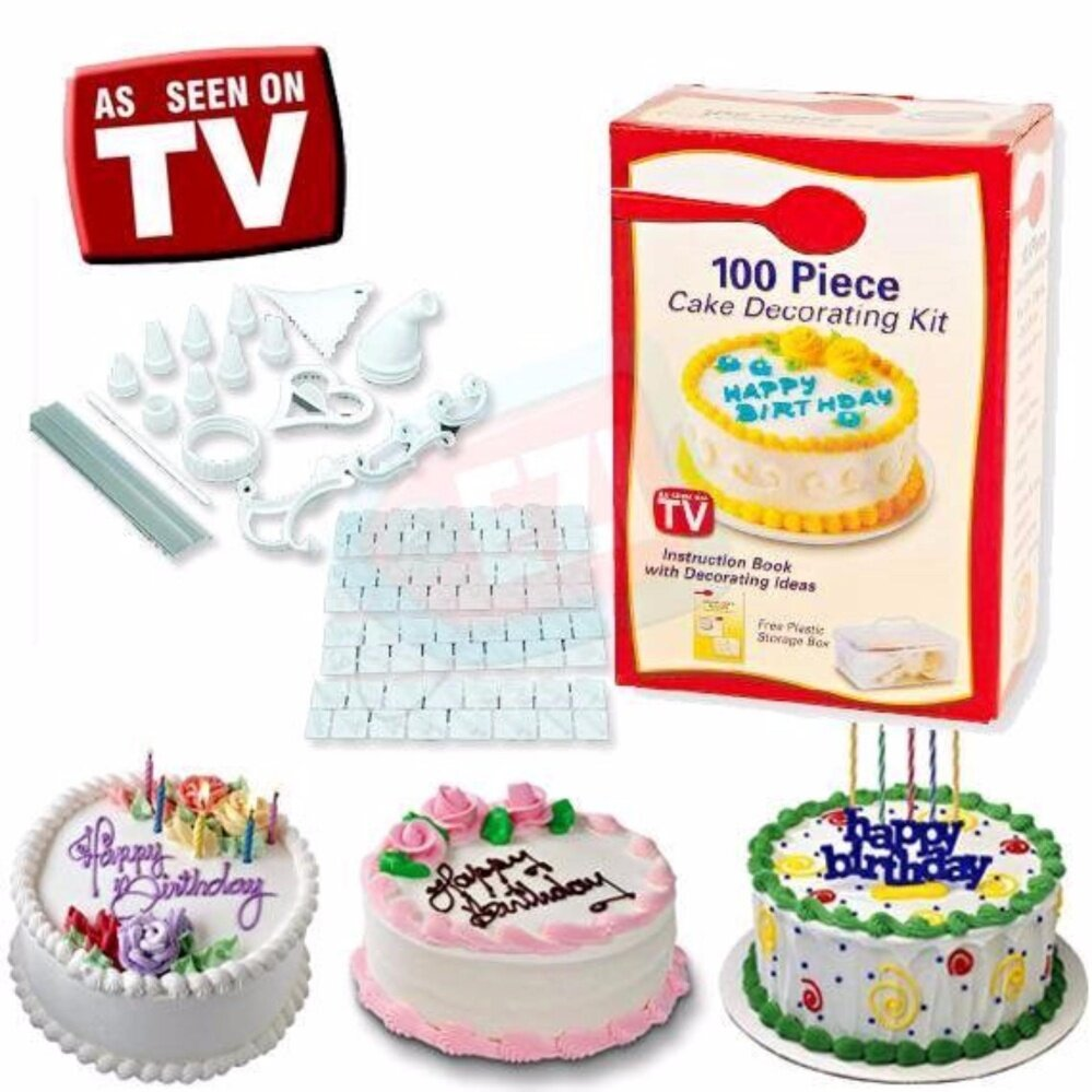 100 piece Cake Decorating Kit – Easy to Do Design Personalize Decorate & Beautify Cake Muffin Cupcake Cookie Decoration Mold Kit