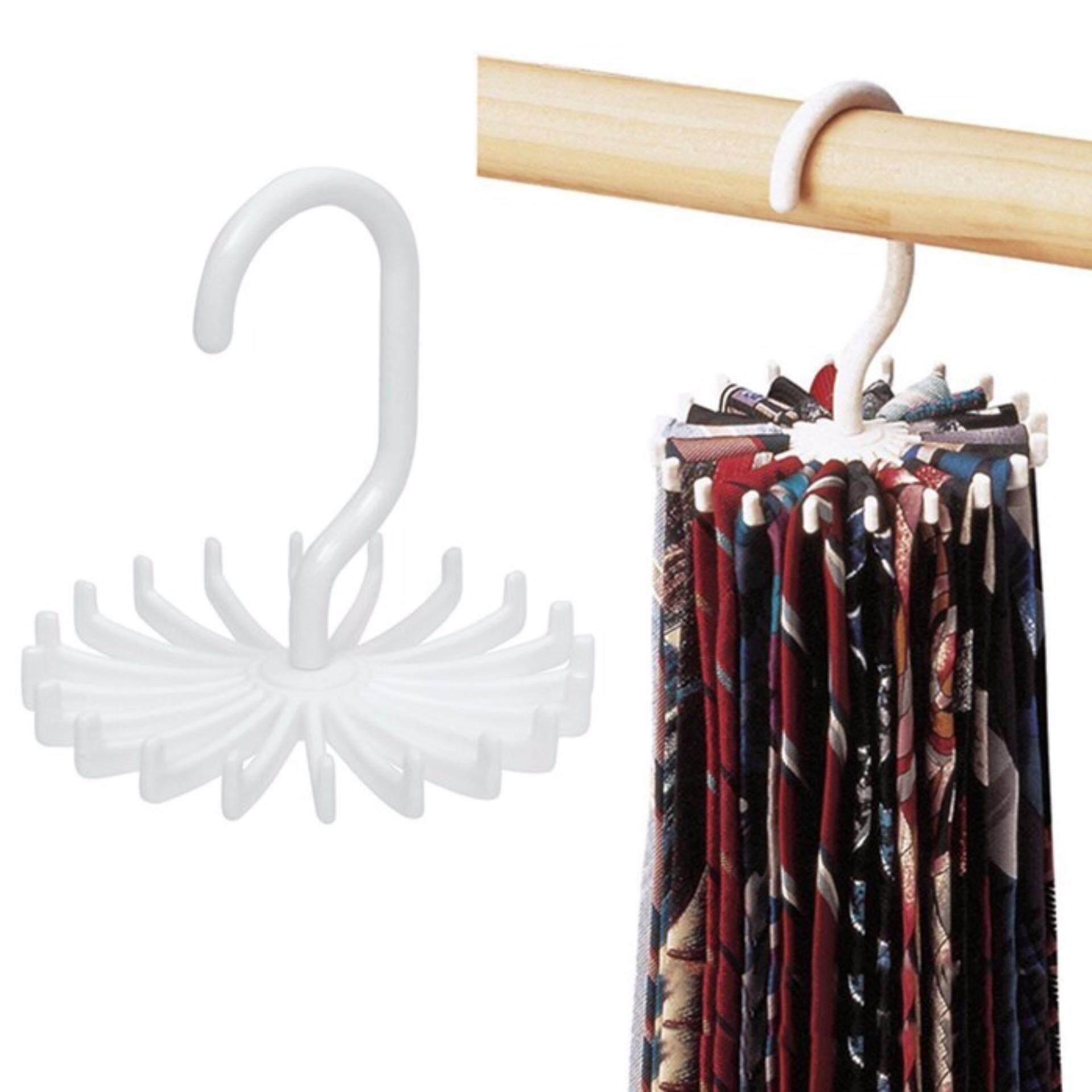 360° Rotating Belts Rack Ties Hanger Holder 20 Hooks Neck Tie Scarf Organizer