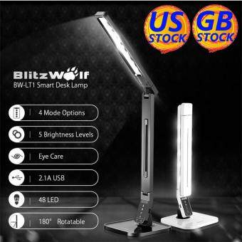 Harga BlitzWolf BW-LT1 Eye Protection Smart LED Desk Lamp Table Lamp Light Rotatable Dimmable 2.1A USB Charging US