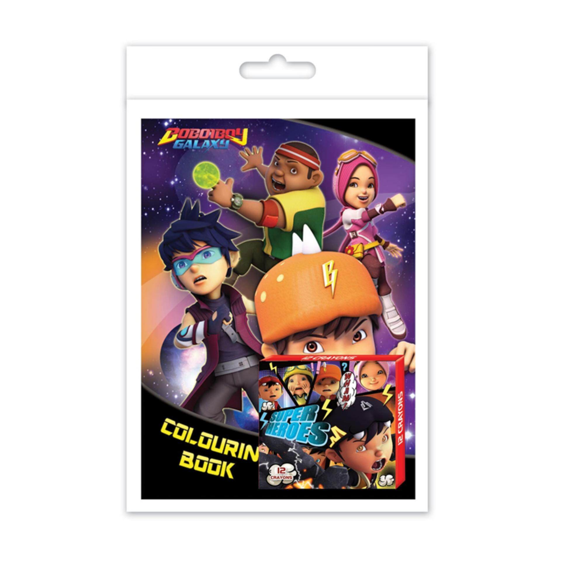 BoBoiBoy Galaxy Colouring Book Set - Black Purple Colour