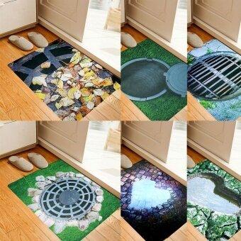 Bolehdeals 3D Keset Pintu Perangkap Karpet Karet Anti Selip-Meninggalkan Manhole Sarung .