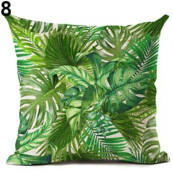 Harga Broadfashion Tropical Green Plant Leaves Flower Linen Cushion CoverPillow Case Home Decor 8 Green Leaves
