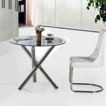 Harga BUGZ: [80 D] Vogue Design Round Black Tempered Glass Table with Chrome Leg