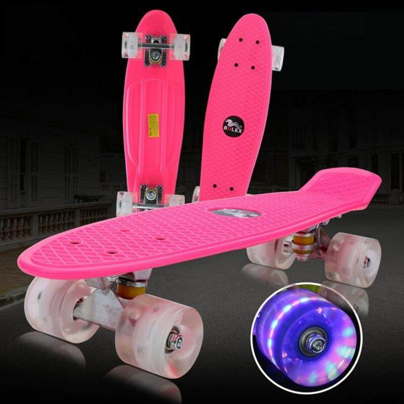 Buy BULEX Environment Protection PP Materials Children Four Wheels Skateboard Shining Fish Plate Pedal Scooter(Pink) Malaysia
