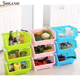 Bundle Set of 3: SOKANO KR001 Stackable and Space Saving Food Safety Storage Bin (Blue) - 3