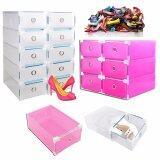 (RAYA 2019) (Bundle Set of 4) SOKANO Premium Drawer Style Hard Plastic DIY Shoe Organizer Box- Rose Red