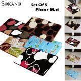 Bundle : SOKANO Set of 5 Premium Printed Short Flannel Antislip Floor Mat For Bathroom, Door Step and etc - Random Design