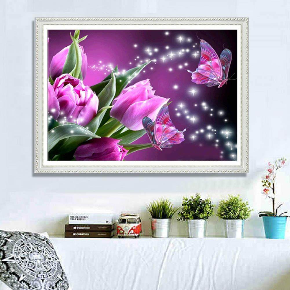 Fitur Butterfly Flower 5d Full Diamond Painting Embroidery Diy Cream Cr Kemasan Pink Needlework Decor Intl 2
