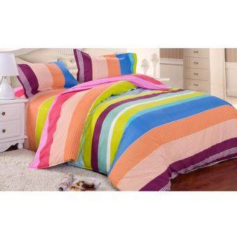 Harga Buy One get One Free! Velvet-Cotton Quilt Cover & Bed SheetKing Set (Paradise Rainbow) (Multic-oloured)