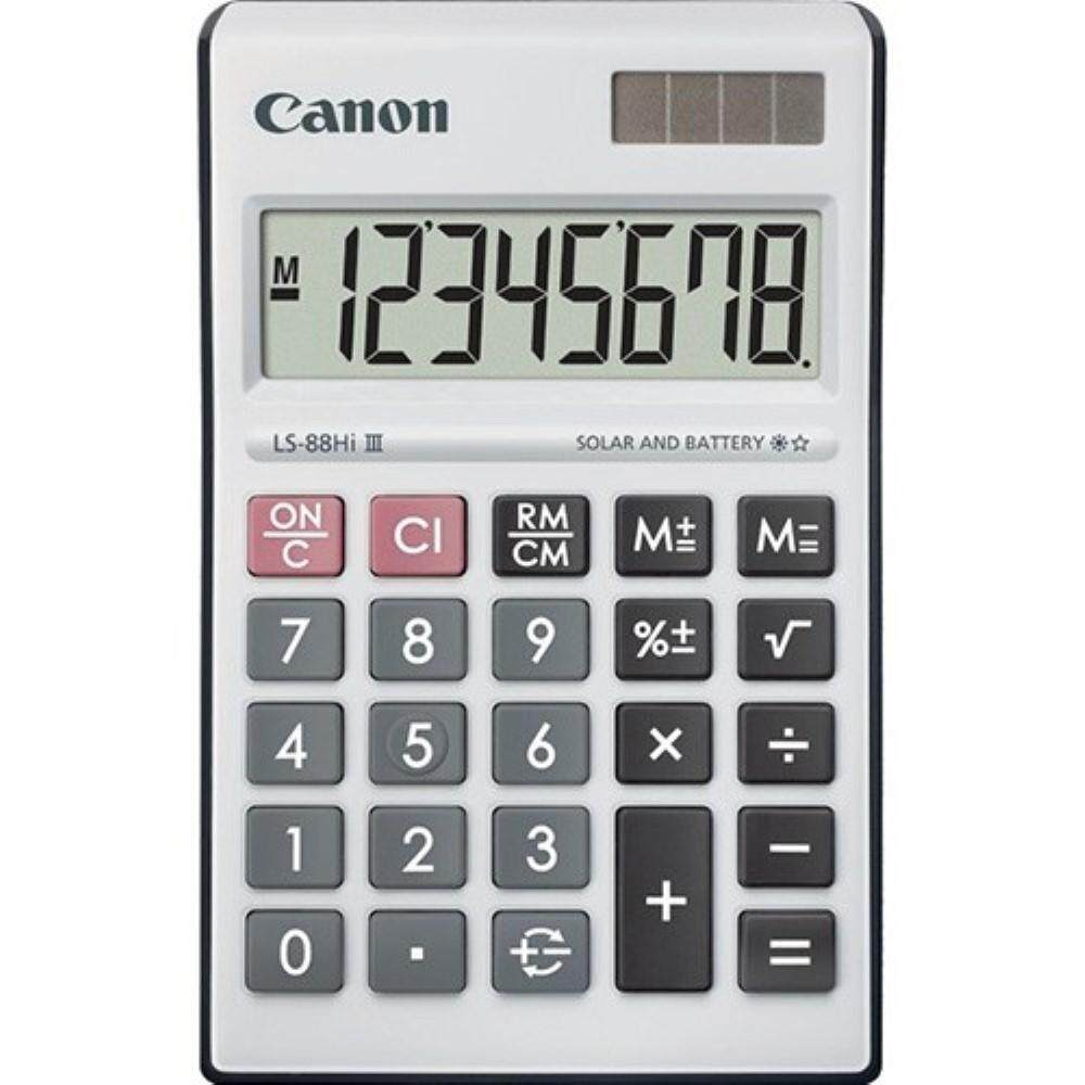 Canon Calculator LS-88Hi III - 8-Digit Mini Desktop Calculator, Portable Compact Size - Black