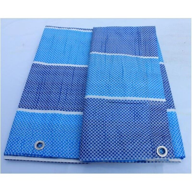 Canvas (Korea) 20  x 20  Ready Made PE Tarpaulin Sheet (Blue White) Outdoor Construction Renovation Floor Cover Canopy Tent Side Wall Shield Waterproof UV Protection Camping Hiking Beach with Built-in Ropes & Grommets Eyelets Kanvas Biru Put