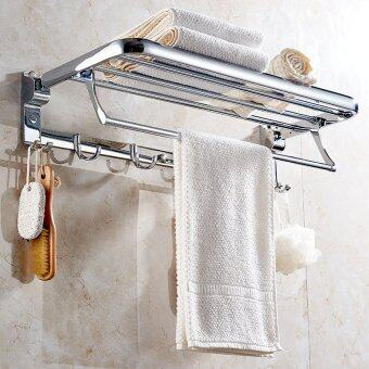 Cavoli-60CM-Zinc Stainless steel Movable Foldable Towel Shelf BarWall Mounted Towel Holder Hanger Rack With Hooks Bar For BathroomChrome(sliver)#10090 - 3