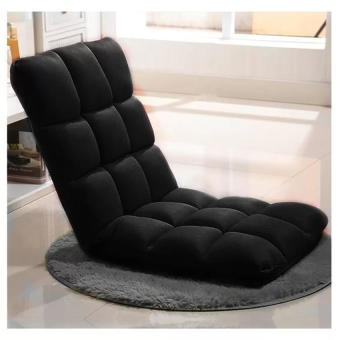 CHARLEMAGNE: Foldable comfy Long Sofa Chair- BLACK