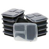 ChefLand 3-Compartment Microwave Safe Food Container Lunch Box 10 Pack