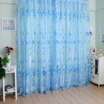 Chic Room Tulip Flower Sheer Curtain Blue