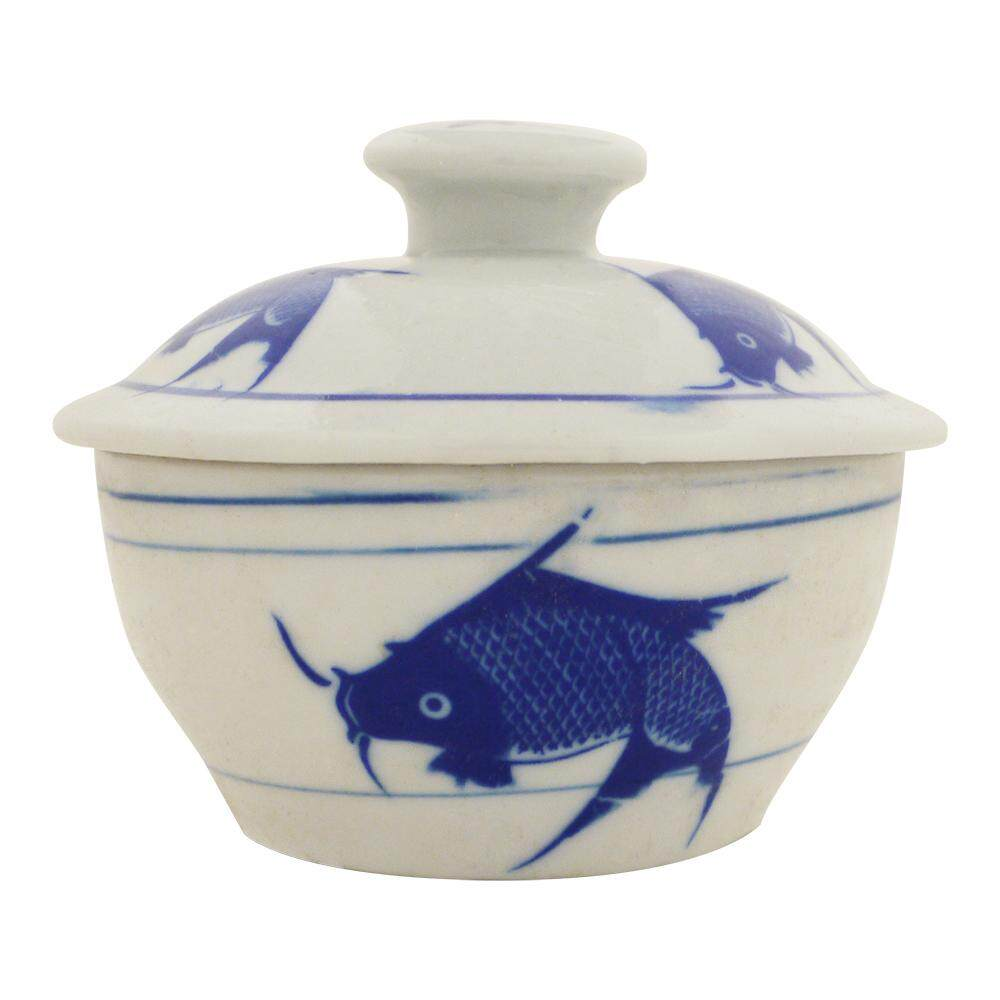 Chicken Pot with Cover Blue Fish No.2 [C203-F2]