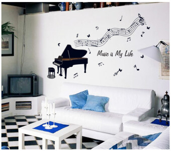 Children's Music notes sheet music room piano line decorativestickers piano