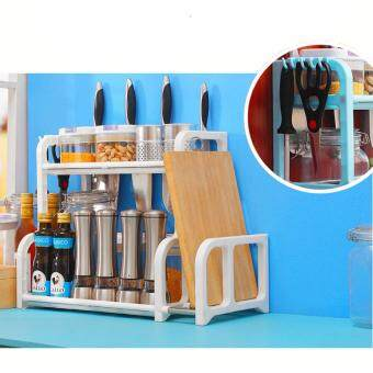 Classic Double Layer Multipurpose New Design Kitchen Storage Rack Spice Shelf (White)