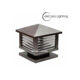 25cm X 25cm Modern Outdoor DECASA Outdoor Pillar Light Weather Proof Gate Lamp Lampu Pagar Pole Light (O-88-250-BROWN)