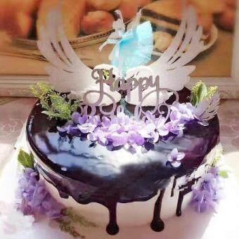 Cocotina Sepasang Sayap Malaikat Dekorasi Pesta Hari Kasih Sayang Kue Ulang Tahun Bendera Kecil