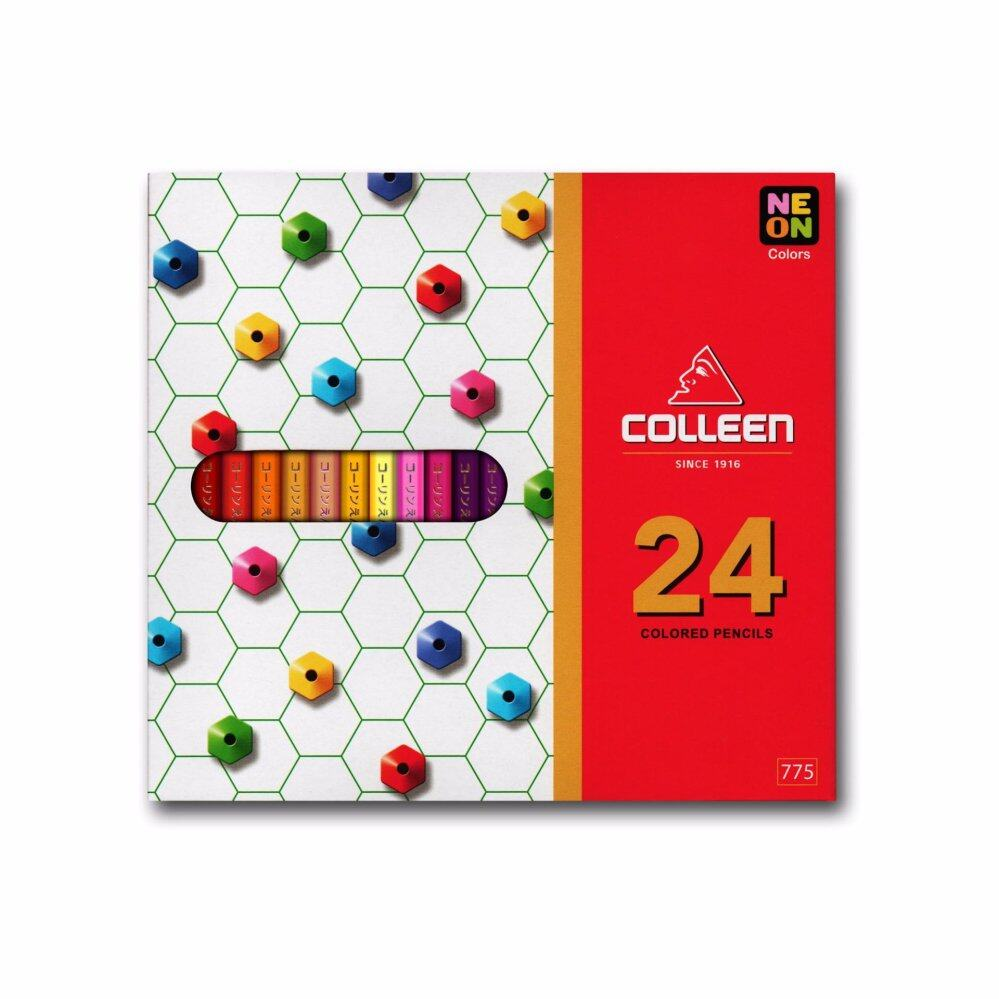 COLLEEN 775 Color Pencil (Hexagon) 24 Colors FREE Norino Glue Tape