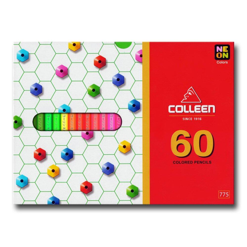 COLLEEN 775 Color Pencil (Hexagon) 60 Colors FREE Norino Glue Tape & Refills