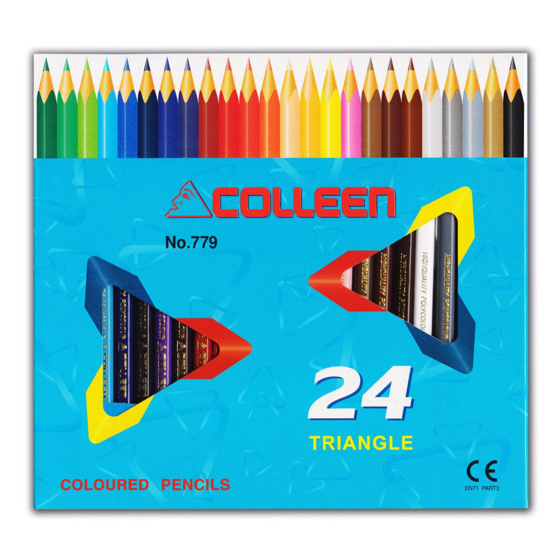 COLLEEN 779 Color Pencil (Triangle) 24 Colors FREE Wax Crayon 16Colors