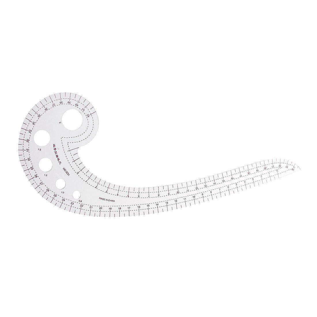 42cm Comma Shaped Plastic Transparent DIY Clothing Tailor Drawing Drafting Measuring Template Spline French Curve RulerTHB132