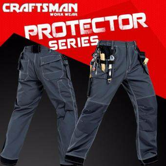 Harga Craftsman Multipurpose Work Wear Trouser Multi Pockets for ToolsWith Knee Protector Cargo Pants (XL)