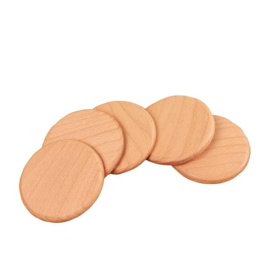 CTOne Square And Round Mini Wooden Pallet Whiskey Wine Glass Cup Mat Padhot Cold Drink Coasters Mug Wood Kitchen Table Ma - intl