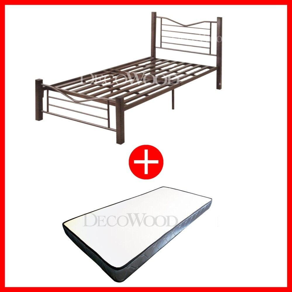 Deco Super Strong Base Extra Strong Single Metal Bed WITH Grade AAA 5 INCHES Rebond Foam Posture Single Mattress