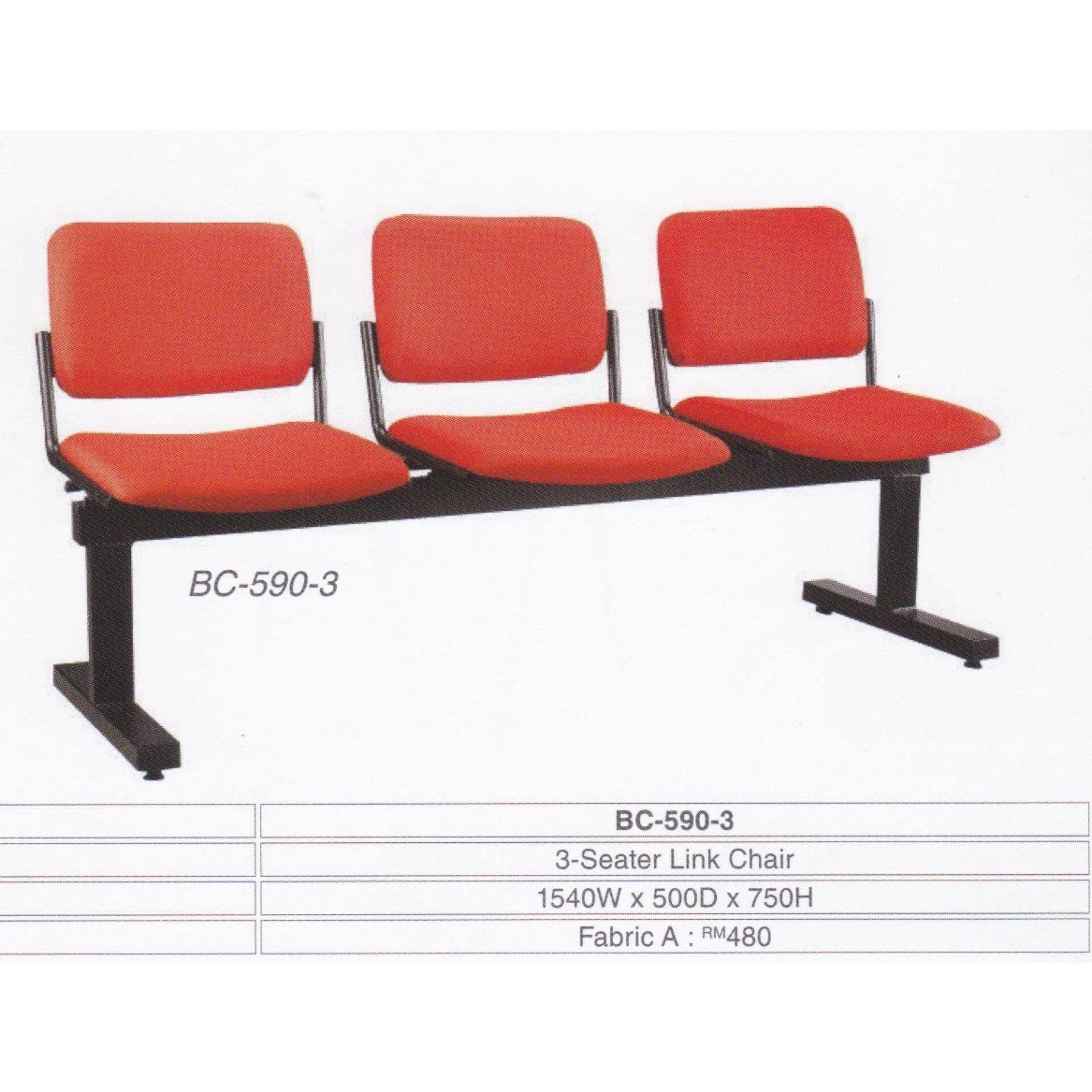 Deco Waiting Area 3-Seater Link Cushion Chair Hall Clinic Office (Red Color) L1540MM X D500MM X H750MM Pre-Order 2 Weeks