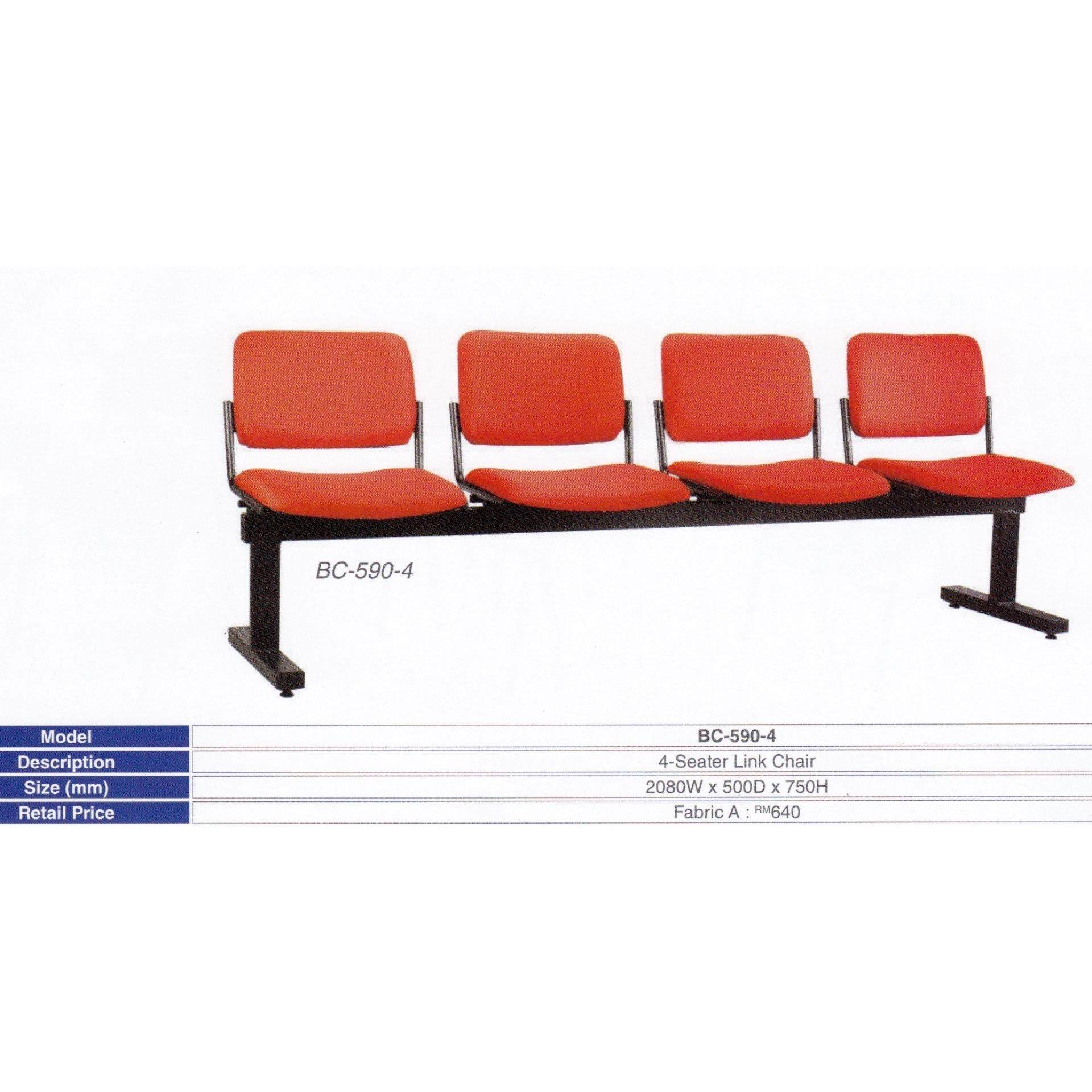 Deco Waiting Area 4-Seater Link Cushion Chair Hall Clinic Office (Red Color) L2080MM X D500MM X H750MM Pre-Order 2 Weeks
