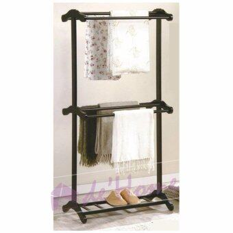 Harga D'Home HA HK High 2 tiers Wooden Towel Rack (Cappuccino)