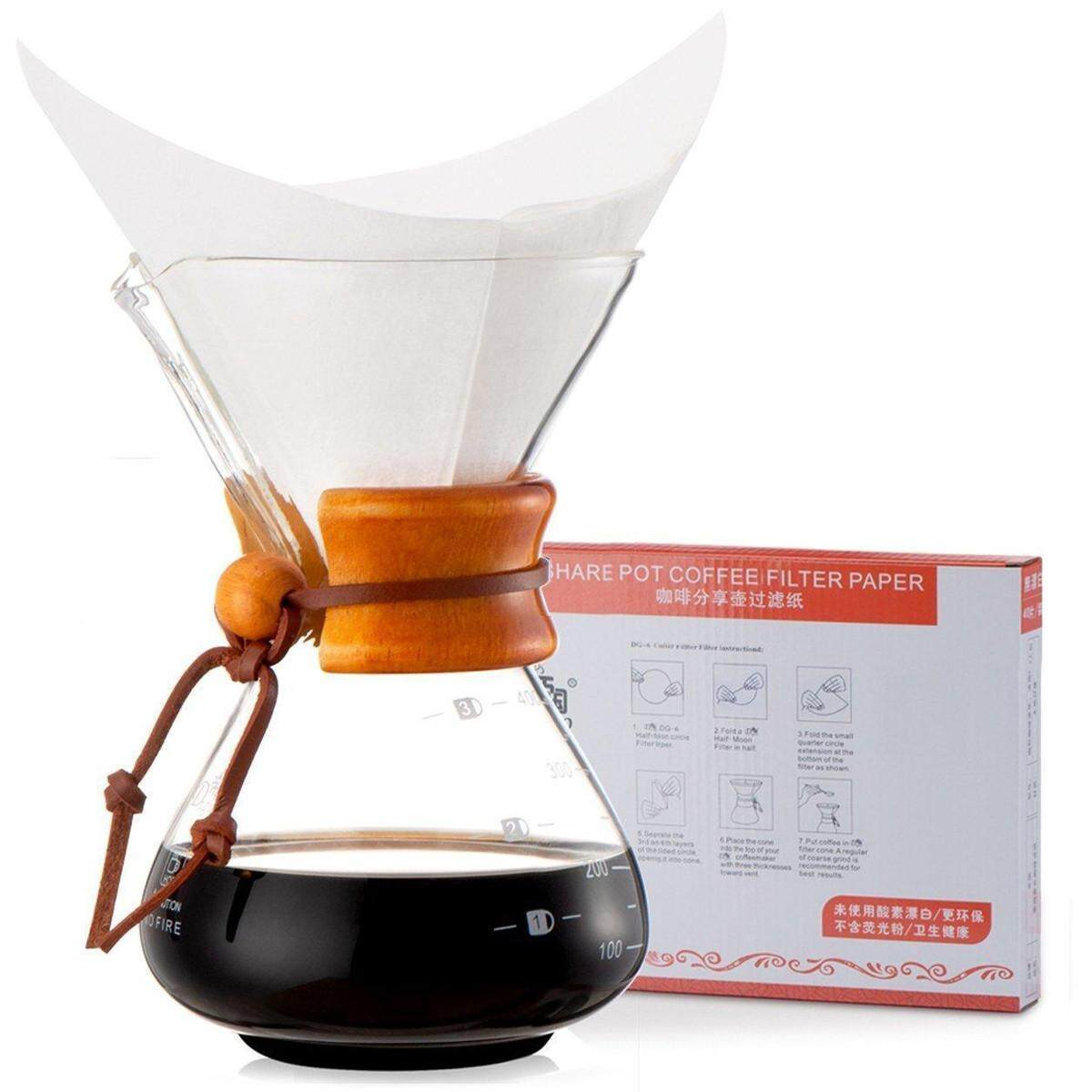 Diguo Classic Glass Coffee Maker Chemex Style Pour Over Coffeemaker 400ml/3 Cups - intl