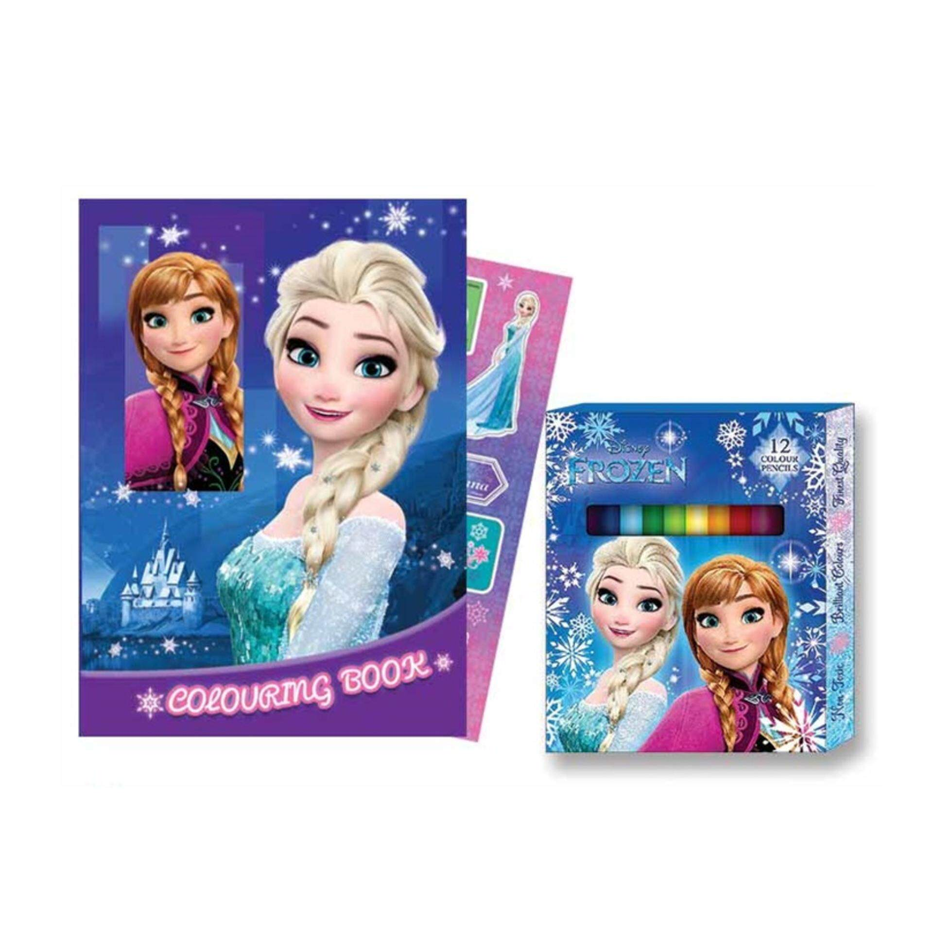 Disney Princess Frozen Activity & Colouring With Colour Pencil - Blue Colour